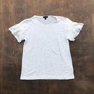 J Crew linen Fluttet sleeve linen T shirt white S